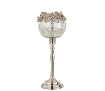 J -Line Theelichthouder Op Voet Juwelen Metaal Glas Zilver - Large