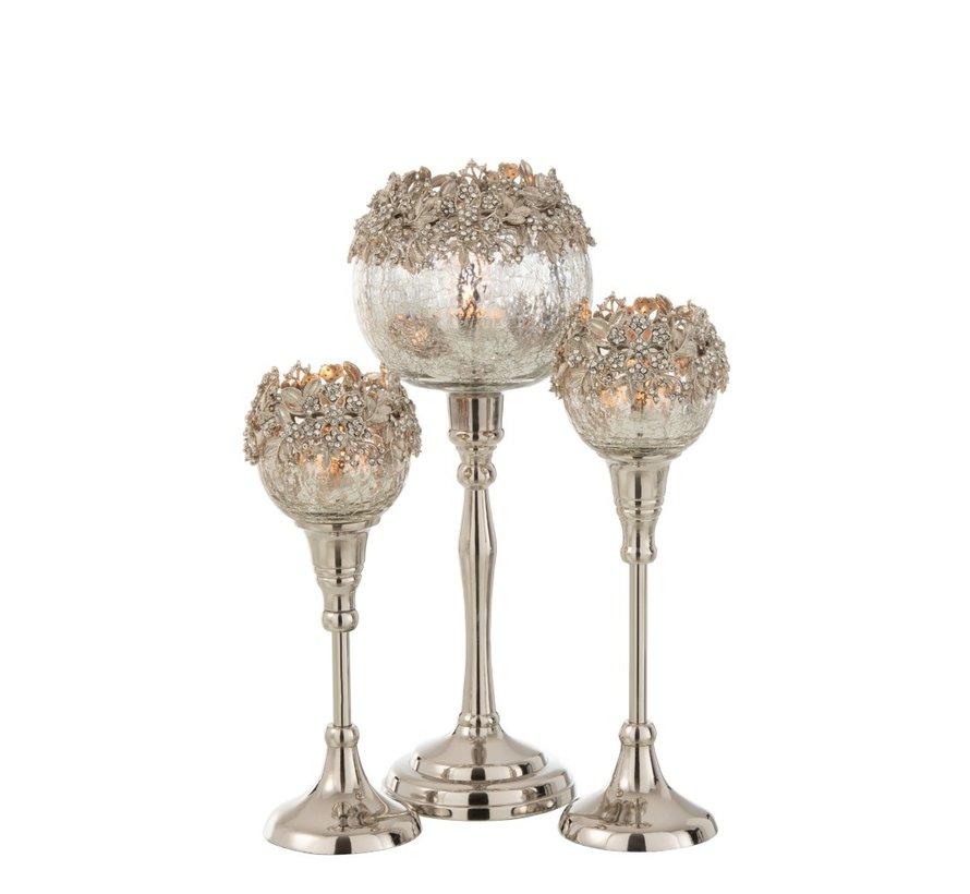 Theelichthouder Op Voet Juwelen Metaal Glas Zilver - Large