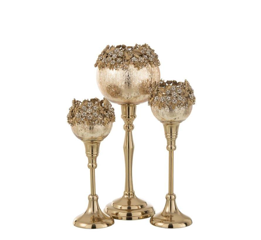 Theelichthouder Op Voet Juwelen Metaal Glas Goud - Small