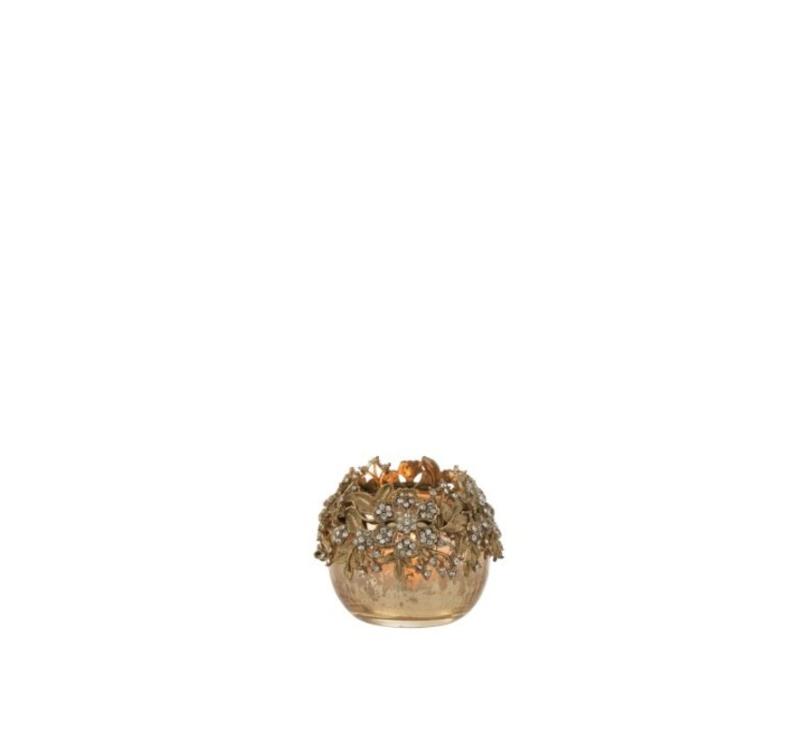 Theelichthouder Bol Juwelen Metaal Glas Goud - Small