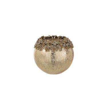 J-Line Theelichthouder Bol Juwelen Metaal Glas Goud - Large