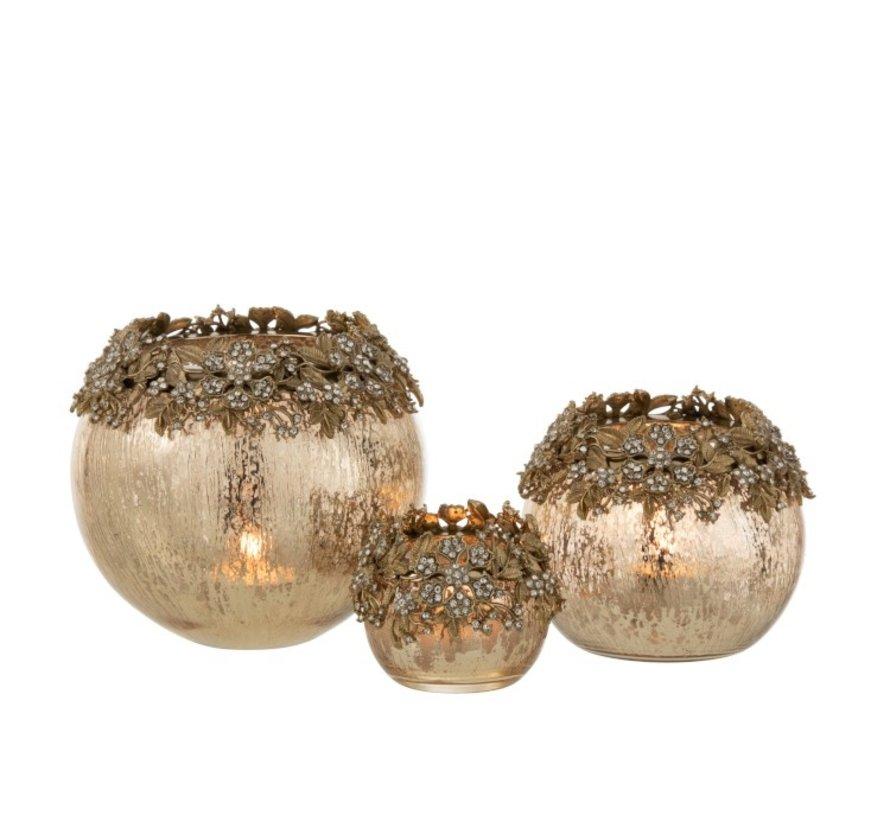 Theelichthouder Bol Juwelen Metaal Glas Goud - Large