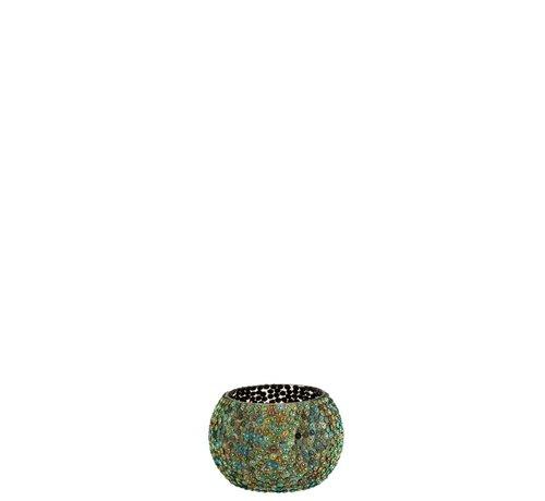 J-Line Theelichthouder Rond Parels Glas Blauw Groen - Small