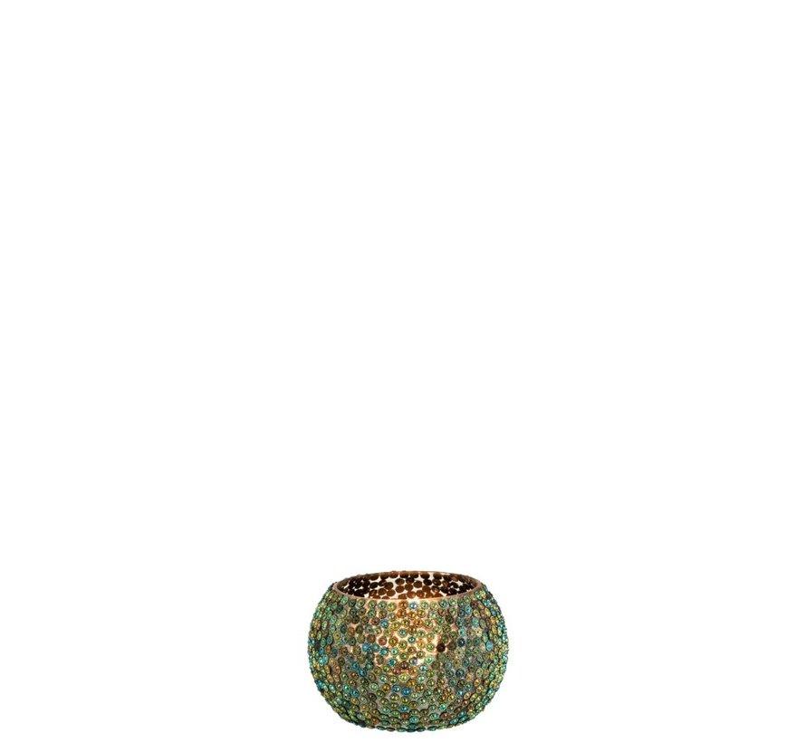 Theelichthouder Rond Parels Glas Blauw Groen - Small
