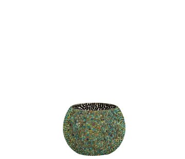 J -Line Theelichthouder Rond Parels Glas Blauw Groen - Medium