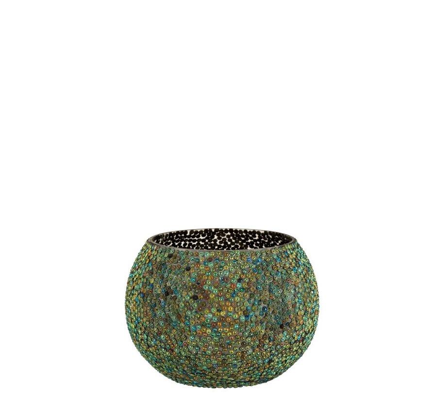 Theelichthouder Rond Parels Glas Blauw Groen - Large