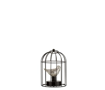 J -Line Decoration Bird Cage With Bird Led Lighting Silver - Small