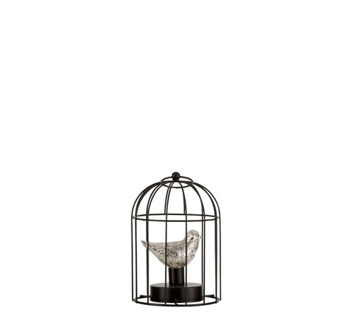 J-Line Decoration Bird Cage With Bird Led Lighting Silver - Small