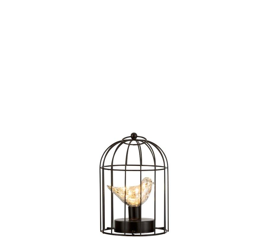 Decoratie Vogelkooi Met Vogeltje Ledverlichting Zilver - Small