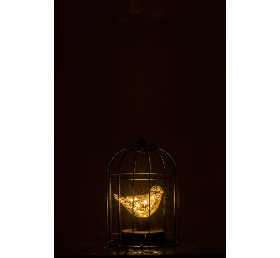 Decoration Bird Cage With Bird Led Lighting Silver - Small