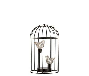 J -Line Decoration Bird Cage Two Birds Led Lighting Silver - Medium
