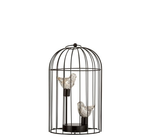 J -Line Decoratie Vogelkooi Twee Vogeltjes Ledverlichting Zilver - Medium