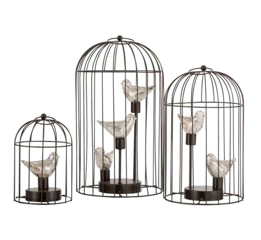 Decoratie Vogelkooi Twee Vogeltjes Ledverlichting Zilver - Medium