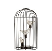J -Line Birdcage Decoration Three Birds Led Lighting Silver - Large