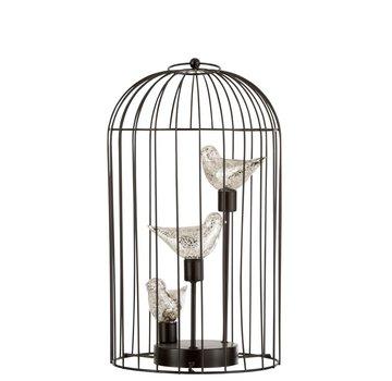 J -Line Birdcage Decoration Three Birds Led Lighting Silver - Large