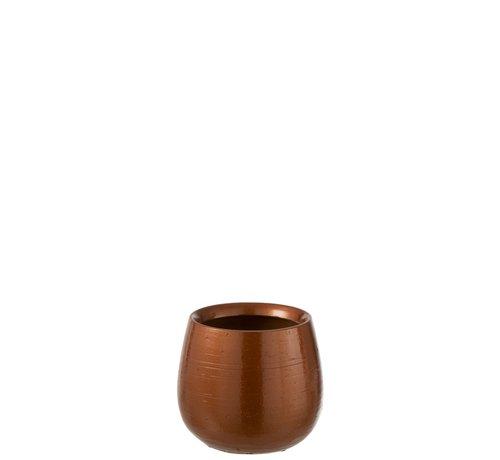 J -Line Flowerpot Round Ceramic Shiny Orange Gold - Small