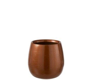 J-Line Flowerpot Round Ceramic Shiny Orange Gold - Large