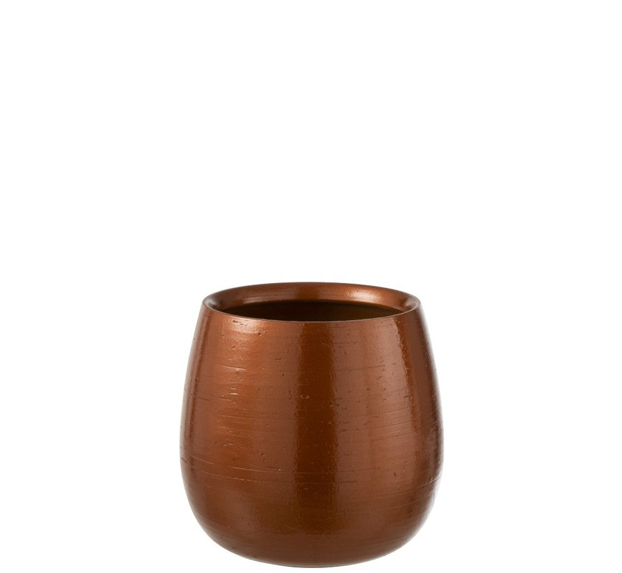 Flowerpot Round Ceramic Shiny Orange Gold - Large