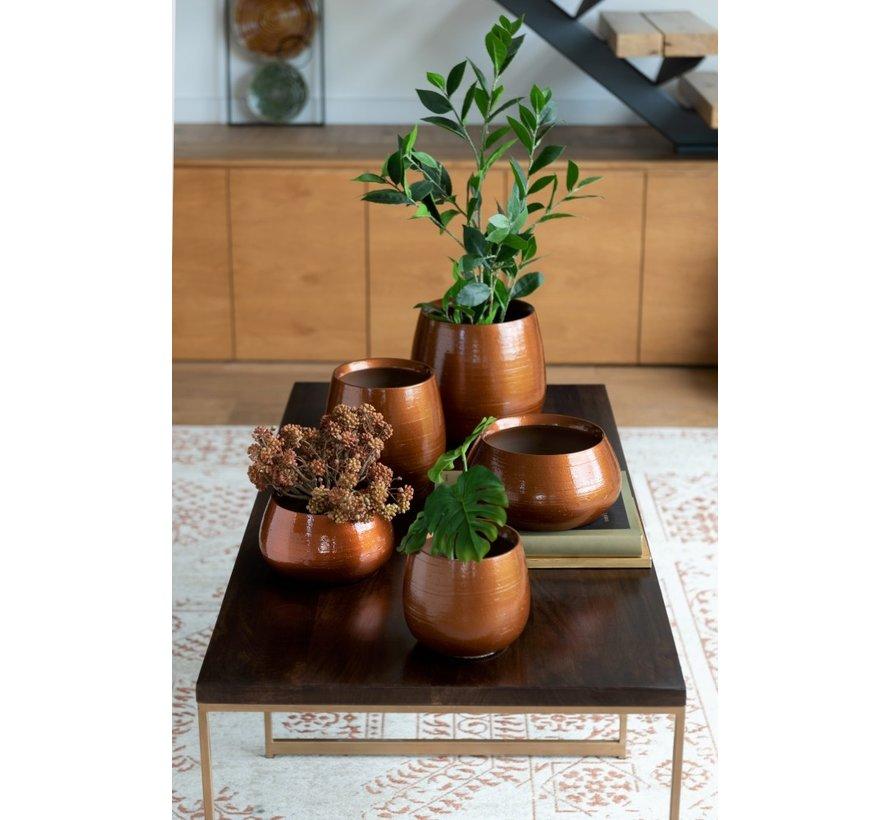 Flowerpot Low Ceramic Shiny Orange Gold - Large
