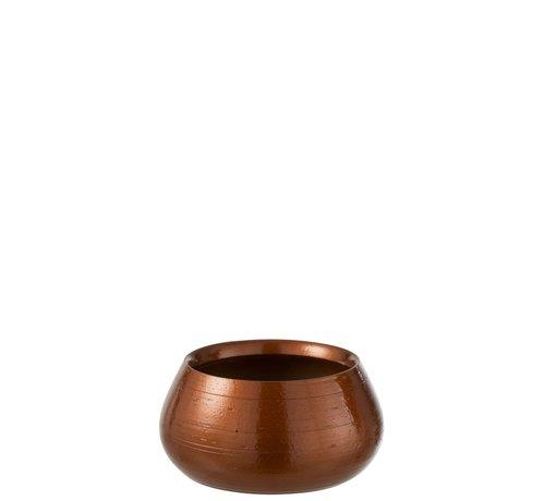 J -Line Flowerpot Low Ceramic Shiny Orange Gold - Large