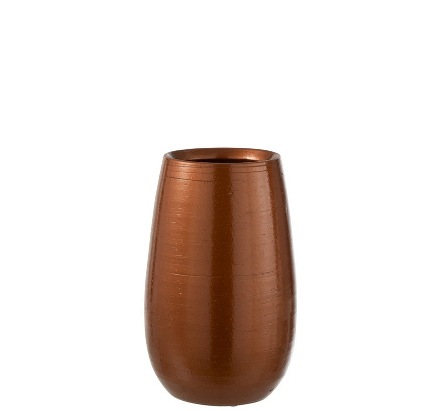 Vase High Ceramic Shiny Orange Gold - Small