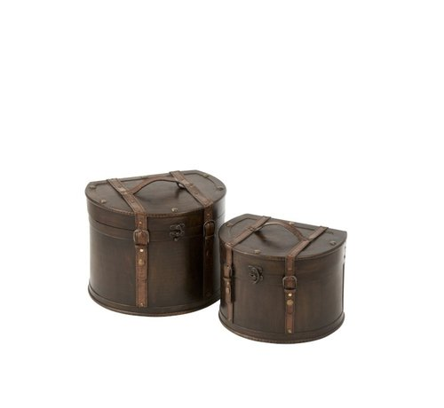 J -Line Decoration Storage Cases Round Flat Side Wood - Dark Brown