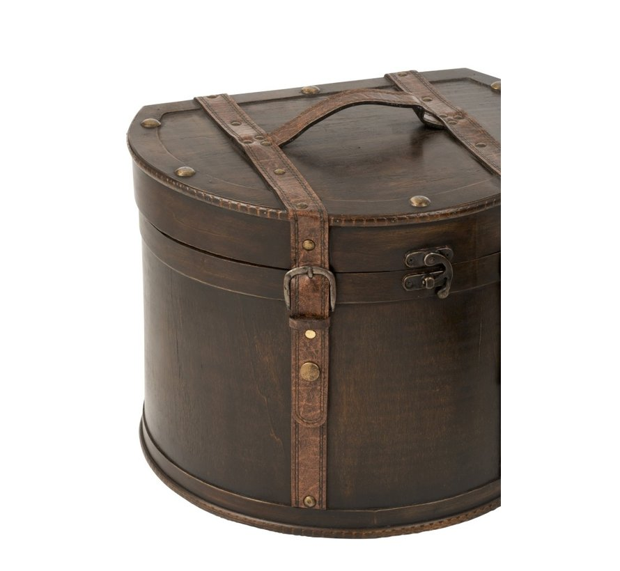 Decoration Storage Cases Round Flat Side Wood - Dark Brown