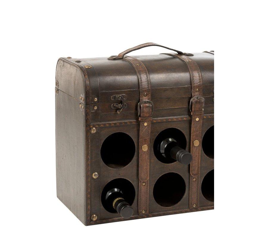 Decoration Storage Case Wine Bottles Wood Light Brown