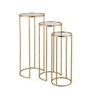 J -Line Side tables Round High Wrought Mirror Glass - Gold