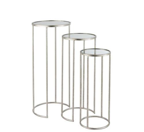 J -Line Bijzettafels Rond Hoog Smeedwerk Spiegelglas - Zilver