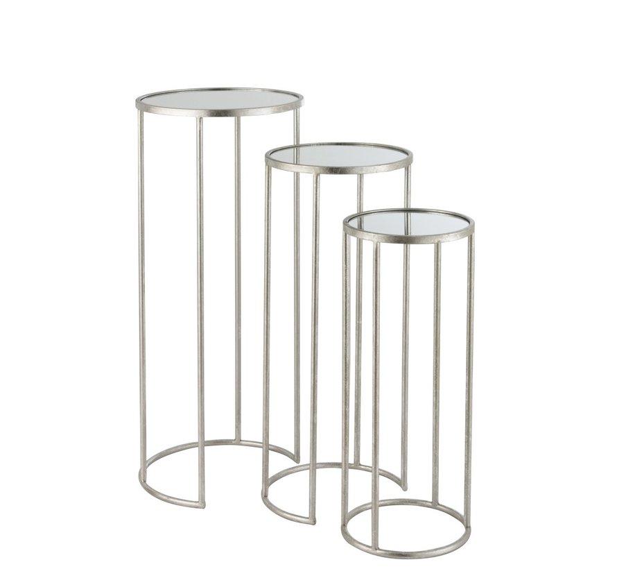 Bijzettafels Rond Hoog Smeedwerk Spiegelglas - Zilver
