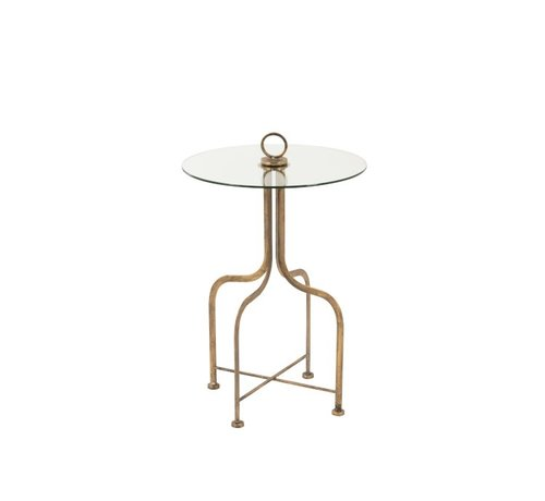 J -Line Side table Round Ironwork Glass  Antique Gold - Small