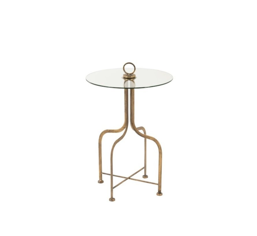 Side table Round Ironwork Glass  Antique Gold - Small