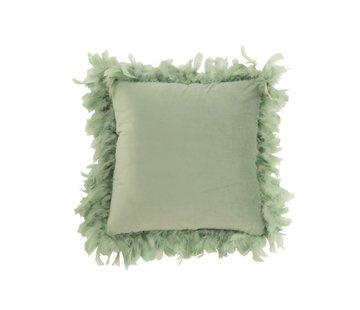 J-Line  Kussen Vierkant Fluffy Pluimen Polyester - Muntgroen