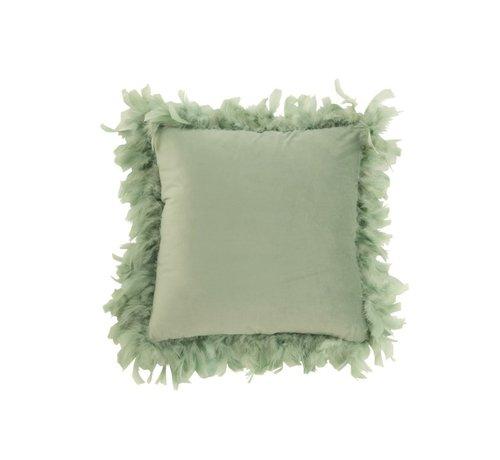 J -Line Kussen Vierkant Fluffy Pluimen Polyester - Muntgroen
