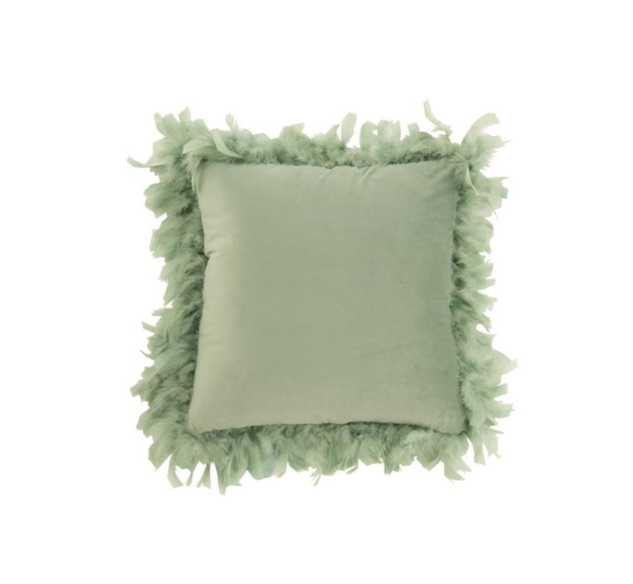 Cushion Square Fluffy Plumes Polyester - Mint green