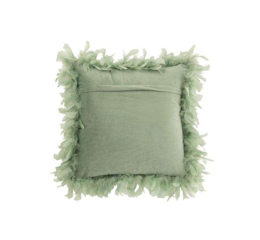 Kussen Vierkant Fluffy Pluimen Polyester - Muntgroen