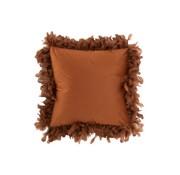 J-Line  Kussen Vierkant Fluffy Pluimen Polyester - Roest