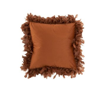 J-Line Cushion Square Fluffy Plumes Polyester - Rust