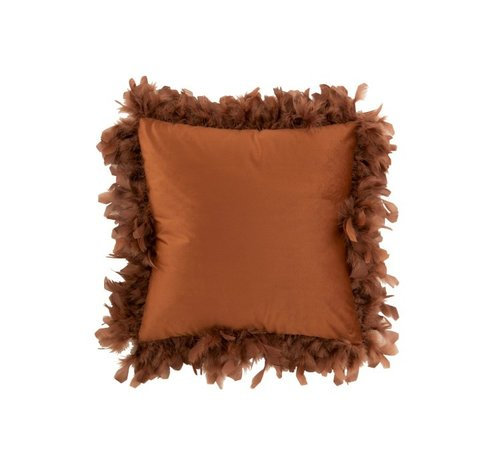 J -Line Cushion Square Fluffy Plumes Polyester - Rust