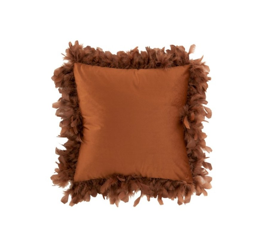 Cushion Square Fluffy Plumes Polyester - Rust