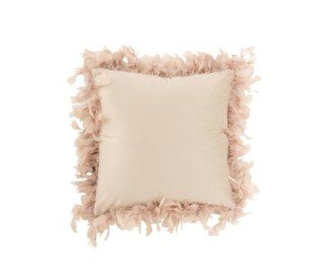 J-Line  Kussen Vierkant Fluffy Pluimen Polyester - Poederroze
