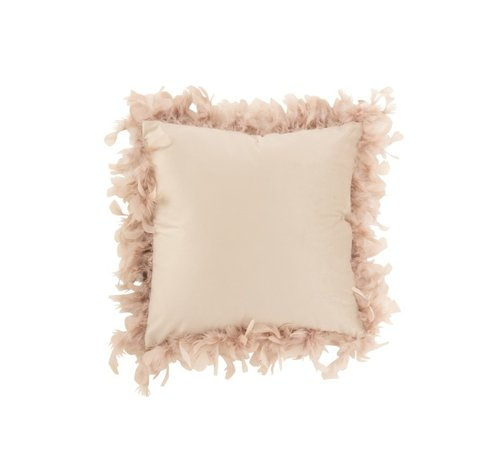 J -Line Cushion Square Fluffy Plumes Polyester - Powder pink