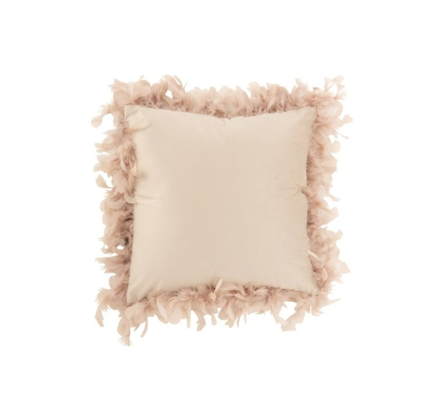 Cushion Square Fluffy Plumes Polyester - Powder pink