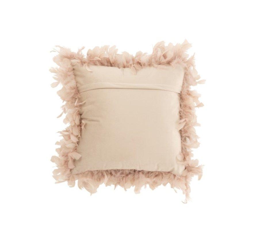 Kussen Vierkant Fluffy Pluimen Polyester - Poederroze