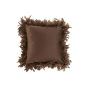 J-Line Cushion Square Fluffy Plumes Polyester - Brown