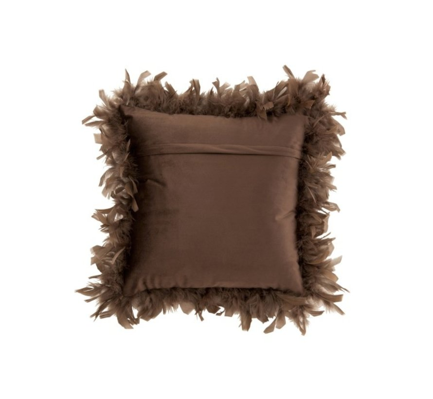 Cushion Square Fluffy Plumes Polyester - Brown