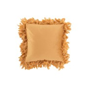J -Line Cushion Square Fluffy Plumes Polyester Gold - Brown