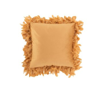 J-Line Cushion Square Fluffy Plumes Polyester Gold - Brown