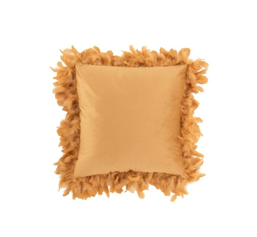 Cushion Square Fluffy Plumes Polyester Gold - Brown